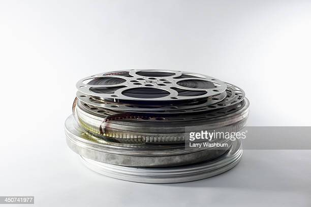 Stack of film reels in canisters