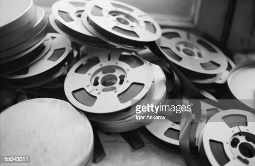 A stack of film reels : Stock Photo