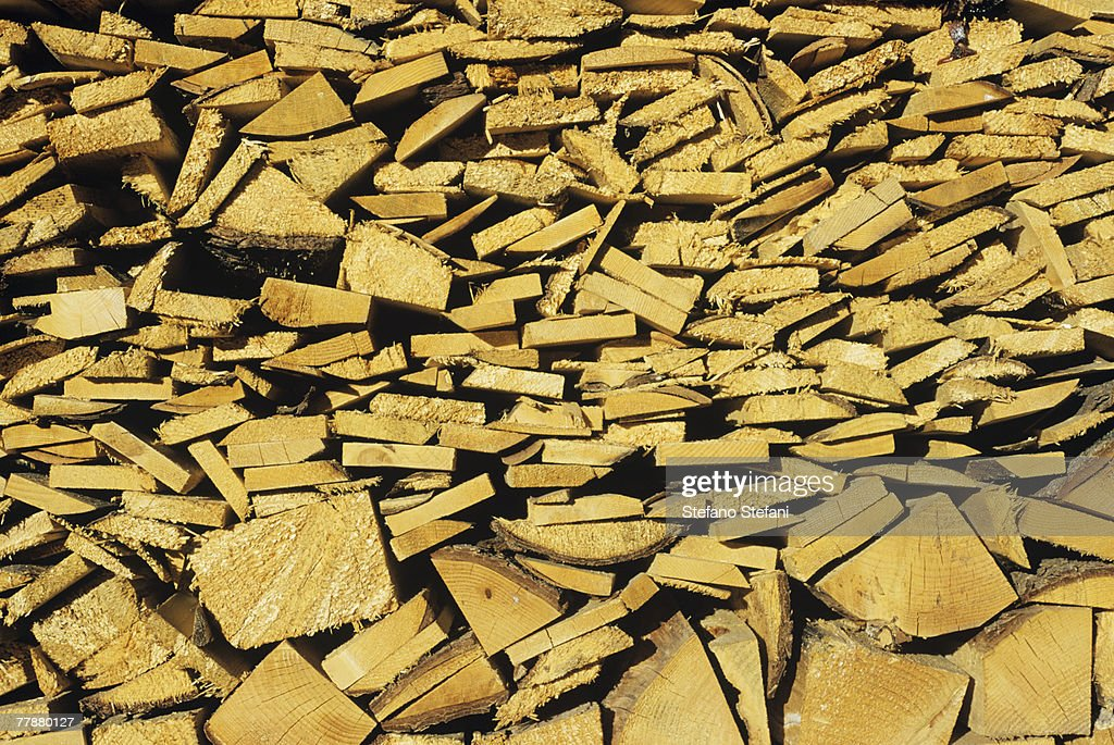 Stack of firewood, close-up : Stock Photo