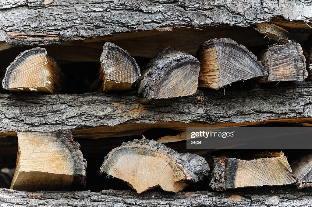 Stack of firewood : Stock Photo