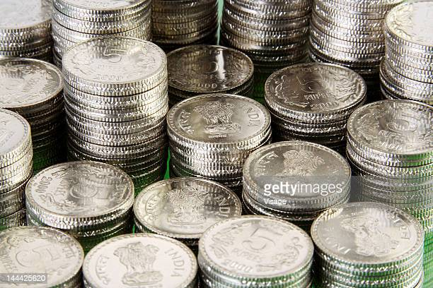 Stack of Five rupees coins