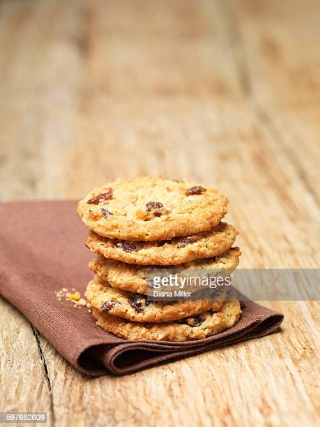 Stack of flapjack cookies on tea towel