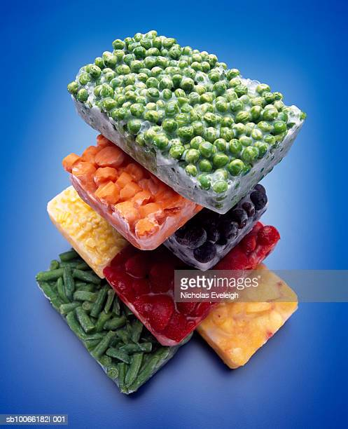 Stack of frozen vegetables