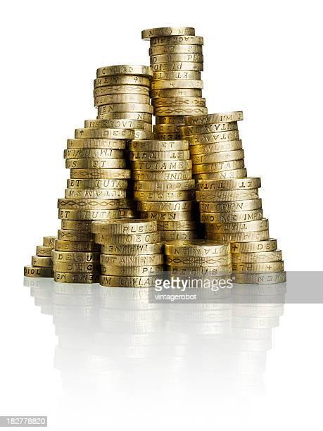 Stapel von GBP MÜNZEN