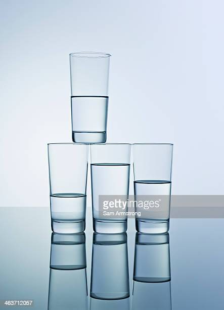Stack of glasses with water in