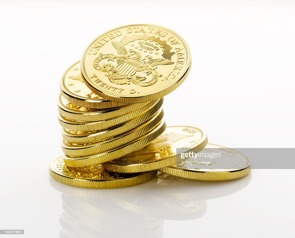 Stack of Gold Coins White : Stock Photo