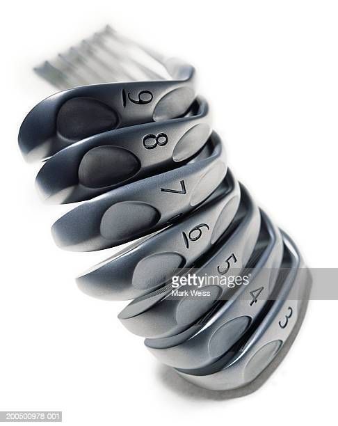 Stack of golf irons, close-up