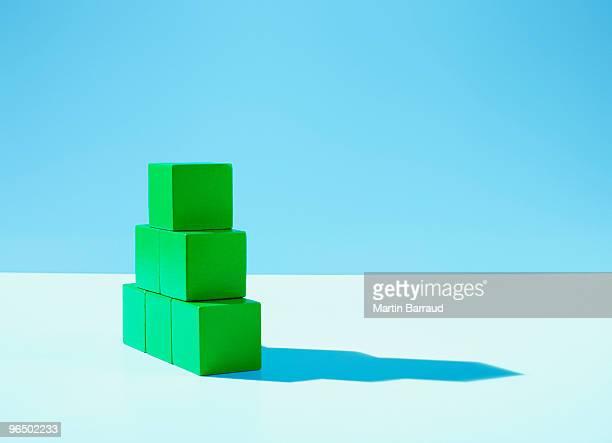 Stack of green blocks