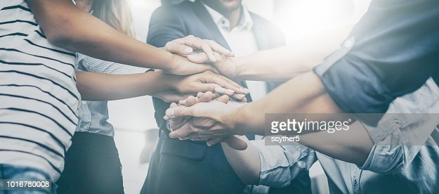 Stack of hands. Unity and teamwork concept. : Foto de stock
