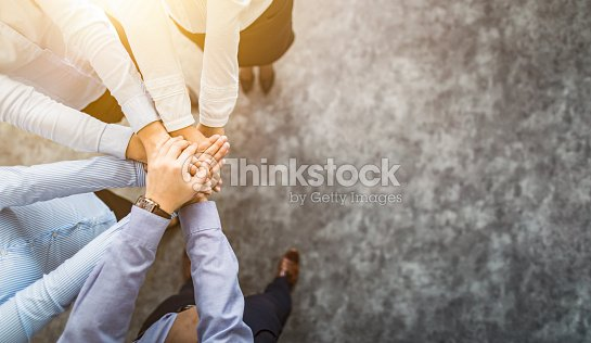 Stack of hands. Unity and teamwork concept. : Foto stock