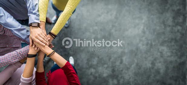 Stack of hands. Unity and teamwork concept. : Stock Photo
