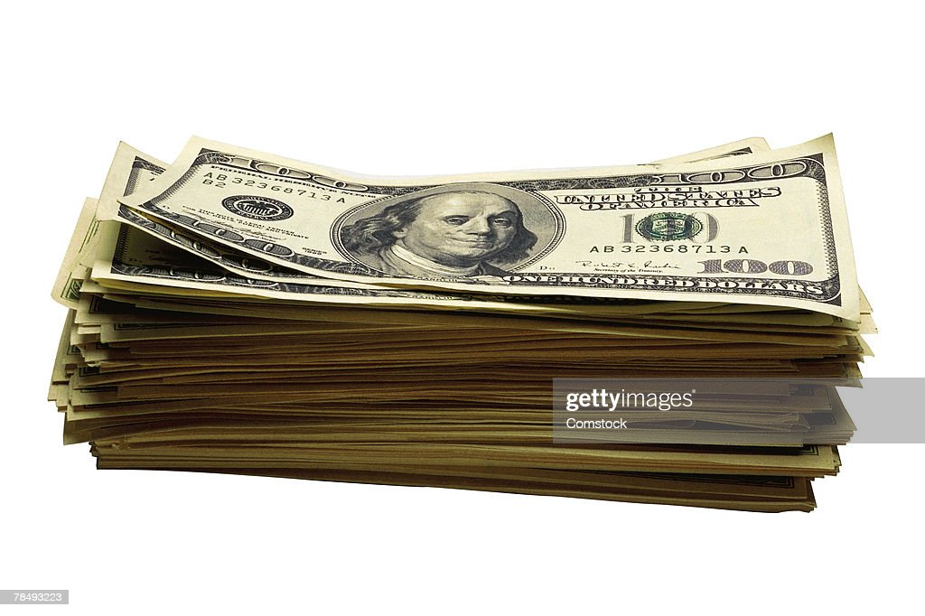 Stack of hundred dollar bills : Stock Photo