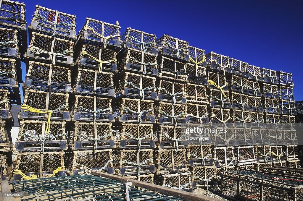 Stack of lobster traps