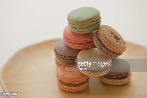 Stack of macaroons, close up : Stock Photo