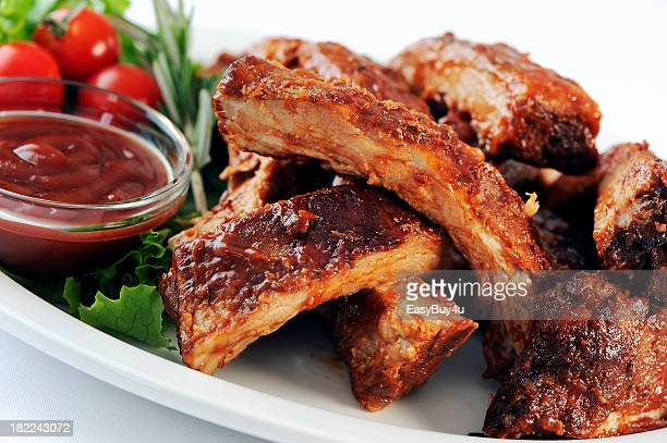 A stack of marinated pork ribs