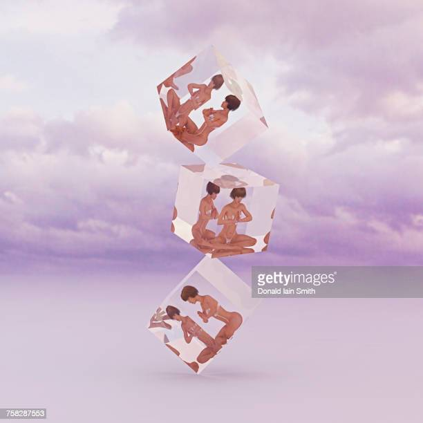 Stack of meditating women frozen in suspended animation