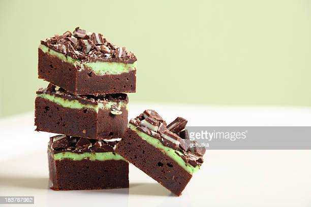 Stack Of Mint Chocolate Fudge Brownies