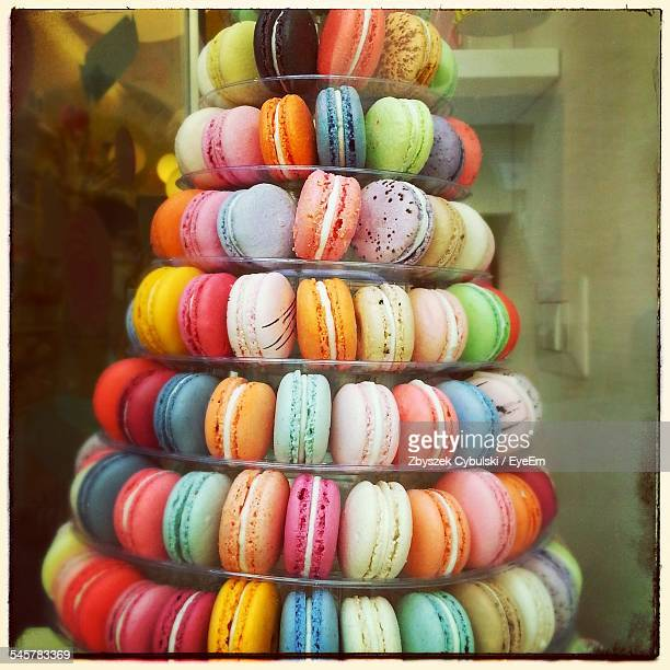 Stack Of Multi Colored Macaroons At Home