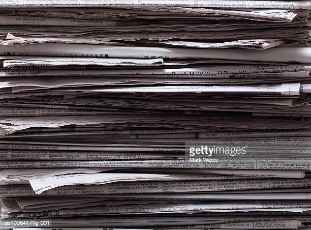 Stack of newspapers, close-up