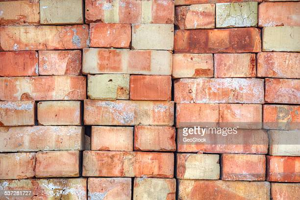 A stack of old bricks, full frame