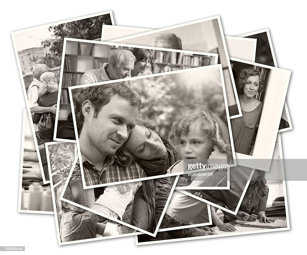 Stapel alte Familienfotos : Stock-Foto