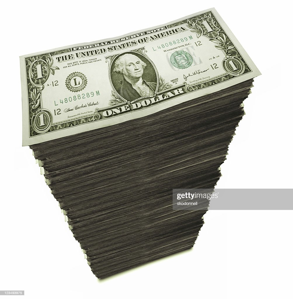 stack of one dollar bills : Stock Photo