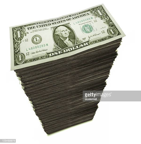 stack of one dollar bills