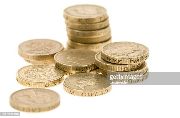 Stack of one pound coins showing Queen Elizabeth