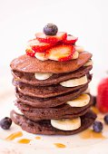 Stack Of Pancakes With Fruits