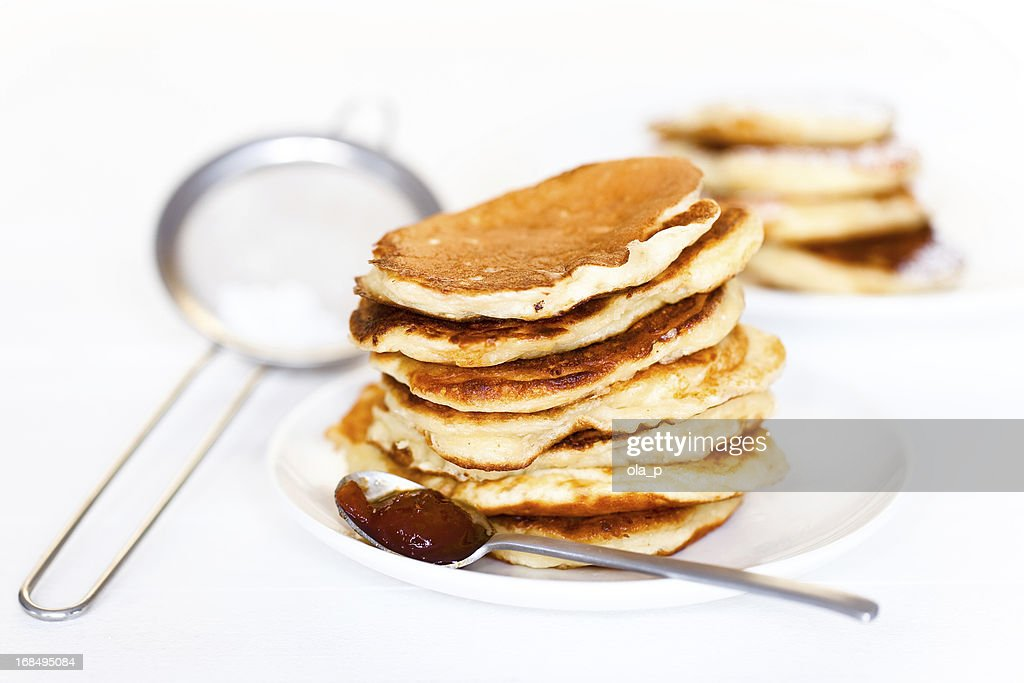 Stack of pancakes with jam : Stock Photo