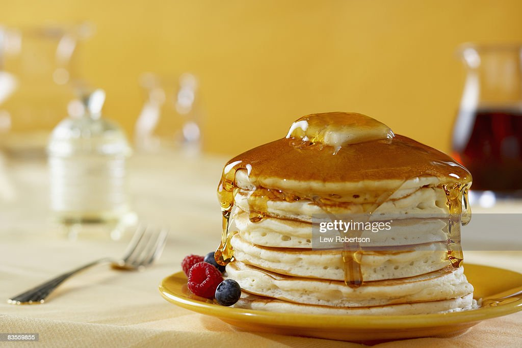 Stack of Pancakes with Syrup : Stock Photo