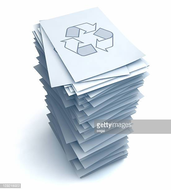 Stack of papers with Recycle symbol