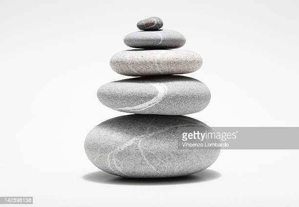 Stack of pebbles, studio shot