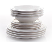 Stack of plates isolated on plain background