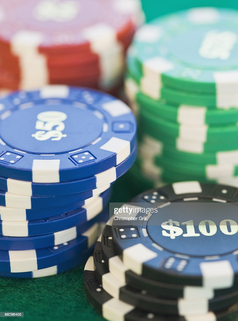 Stack of poker chips : Stock Photo