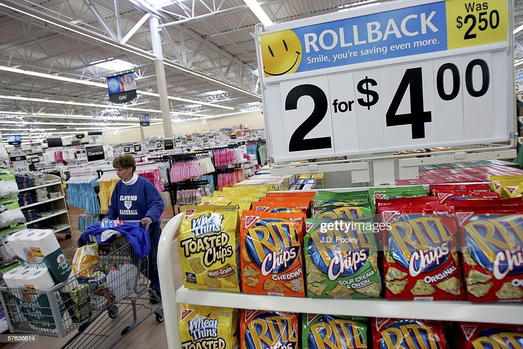 A stack of potato chips are seen inside the new 2,000 square foot Wal-Mart Supercenter store May 17, 2006 in Bowling Green, Ohio. The new store, one of three new supercenters opening today in Ohio, employs 340 people with 60 percent of those working full-time.