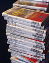 A stack of rental DVD's are sit inside a Blockbuster Video store January 6 2003 in Park Ridge Illinois Walt Disney Co is suing Blockbuster claiming...