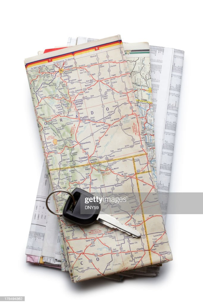 Stack of Road Maps : Stock Photo