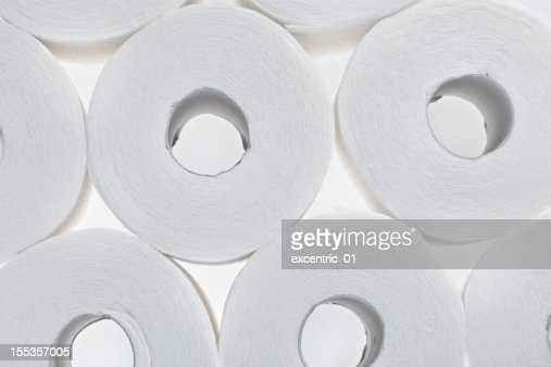 stack of rolls toilet paper isolated on white
