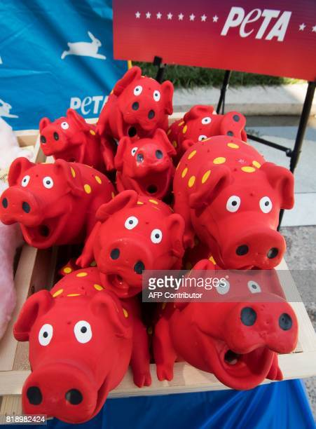A stack of rubber pigs are seen as the People for the Ethical Treatment of Animals conduct their veggie dog giveaway on Capitol Hill July 19...