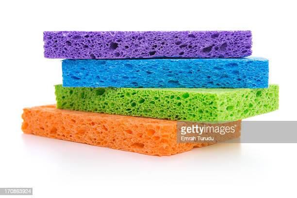 Stack of sponges on a white background
