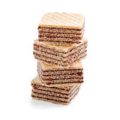 stack of square wafer biscuits isolated on white background