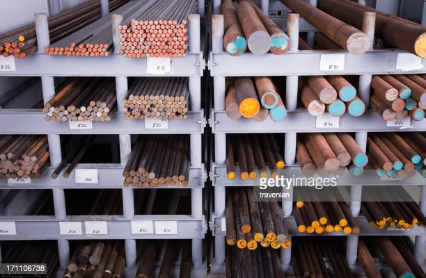 Stack of stainless steel rods background