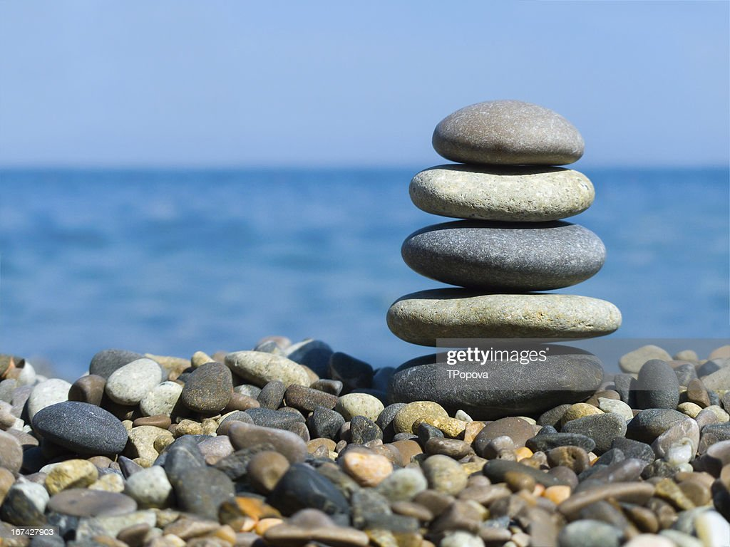 Stack of stones on beach : Stock Photo