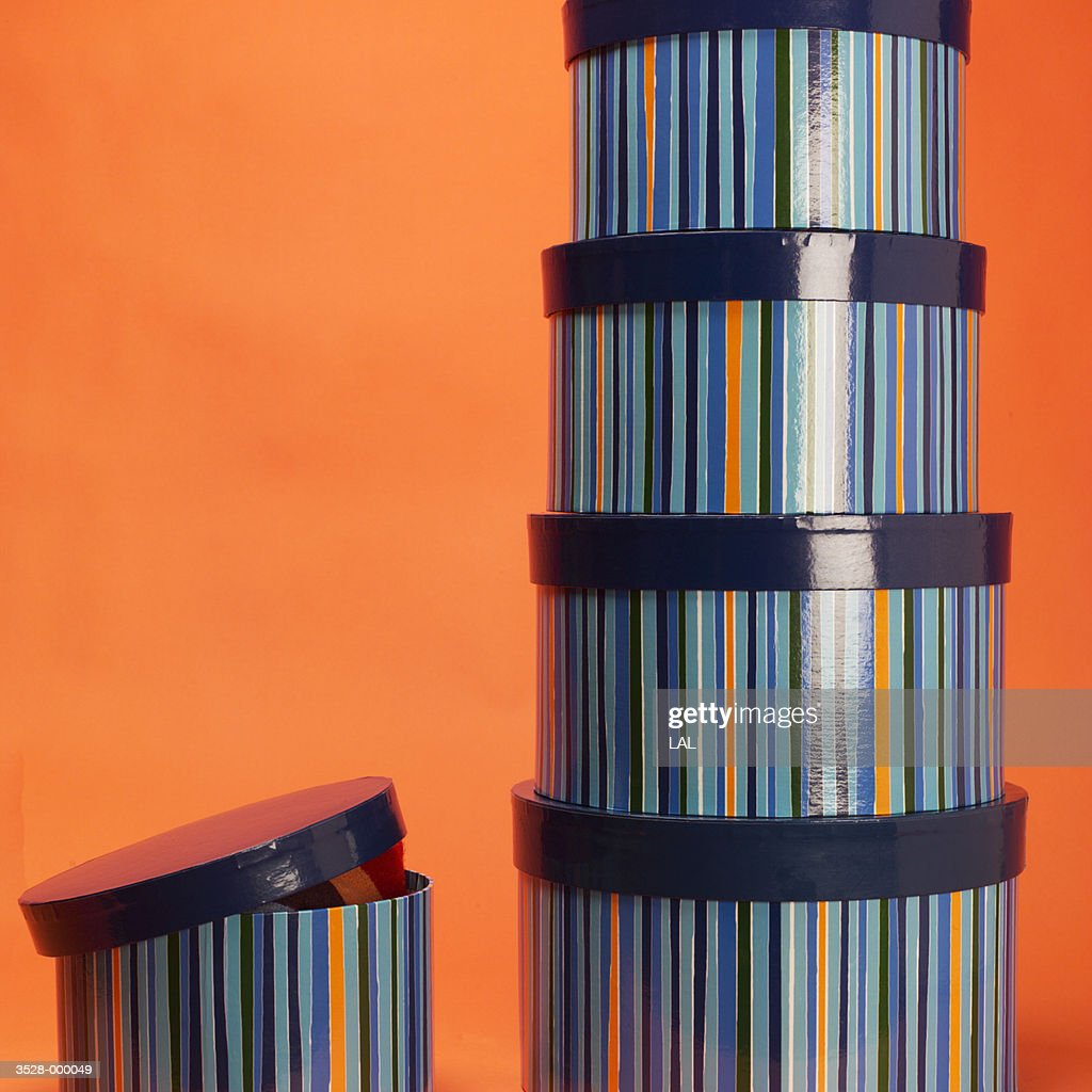 Stack of Striped Hatboxes