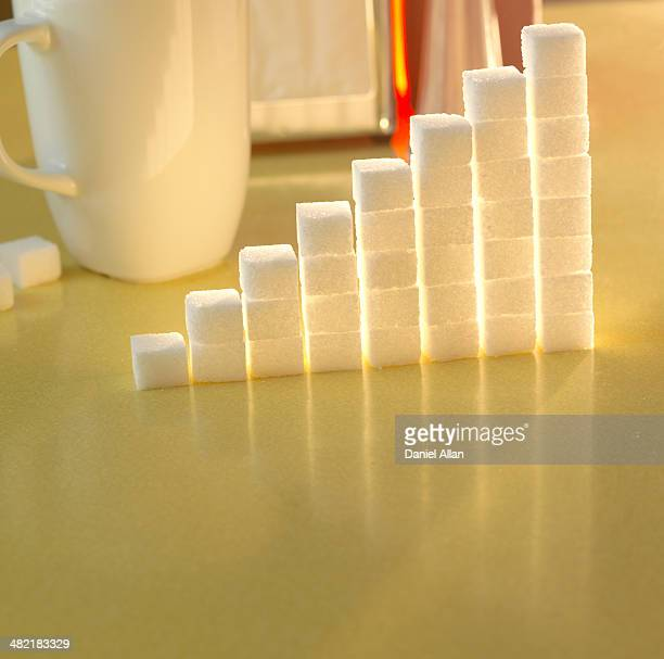 Stack of sugar cubes in the shape of a graph on a yellow table