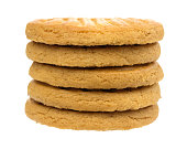 A stack of sugar free shortbread cookies isolated on a white background.