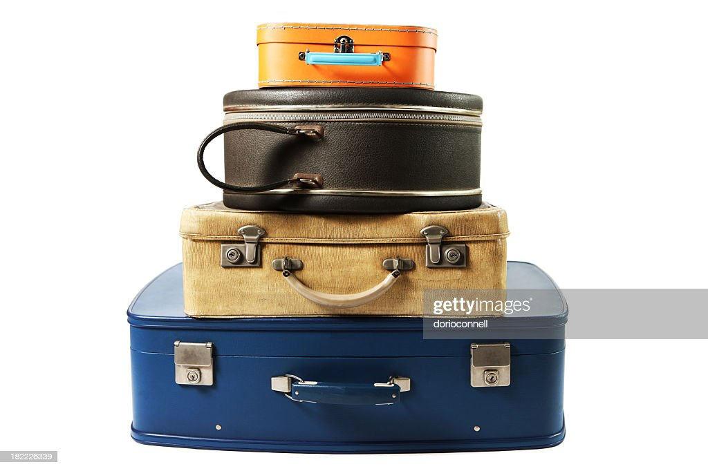 A stack of suitcases for travel