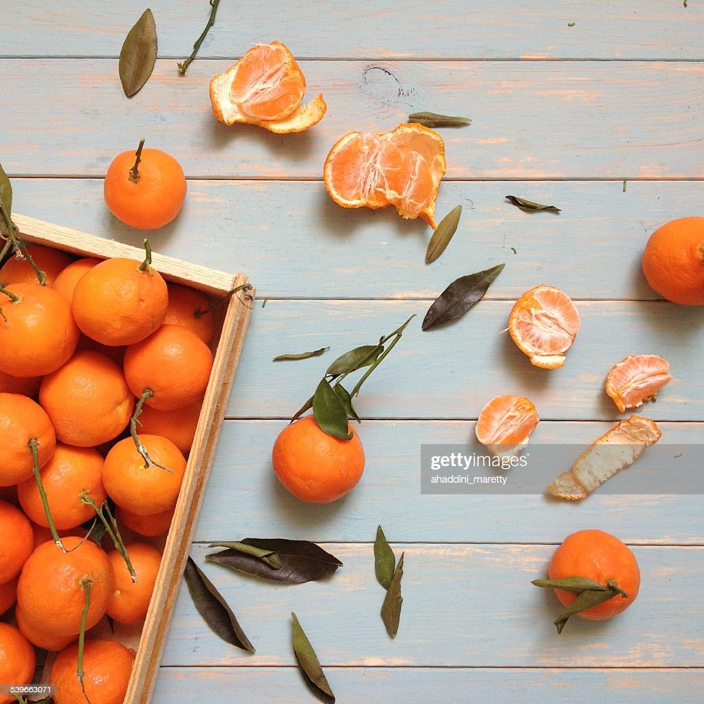 Stack of sweet tangerines