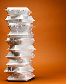 Stack of take-out food containers